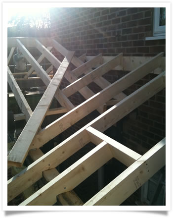 New roof timbers being installed in Keyworth